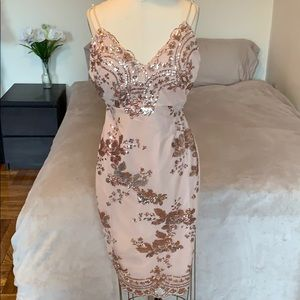 💖 Rosegold Floral Sequin Sexy Dress💖